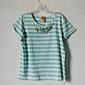 5/$15 Ruby Rd. Large Mint Blue Stripe Gem S.S Tee